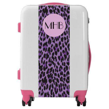 #Monogram - Animal Print Spotted Leopard - Purple Luggage - #custom #luggage #suitcase #suitcases #bags #trunk #trunks