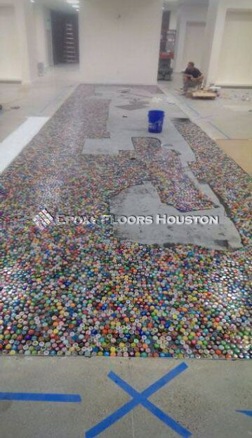 This #colorful pavement is surely going to make your reception starry! #Colors #Decor #Epoxy #Houston #Texas