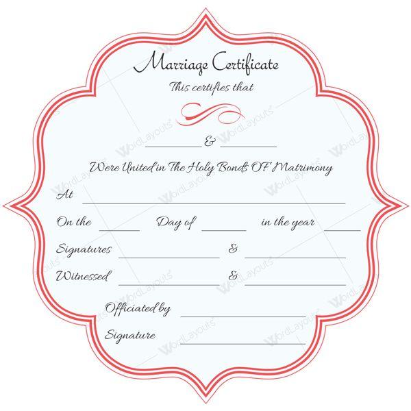 Elegant Marriage Certificate Template #certificatetemplate - marriage certificate template
