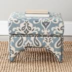 Declan Blue & Gray & Off White Storage Ottoman, Blue/Gray & Off White Print