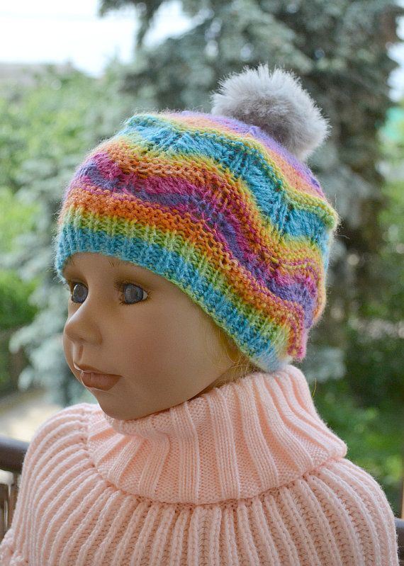 Knitted Children's hat cap  color blue green yellow by DosiakStyle, #KnittedChildrenshatcap