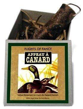 Boite contenant un appeau cri du canard