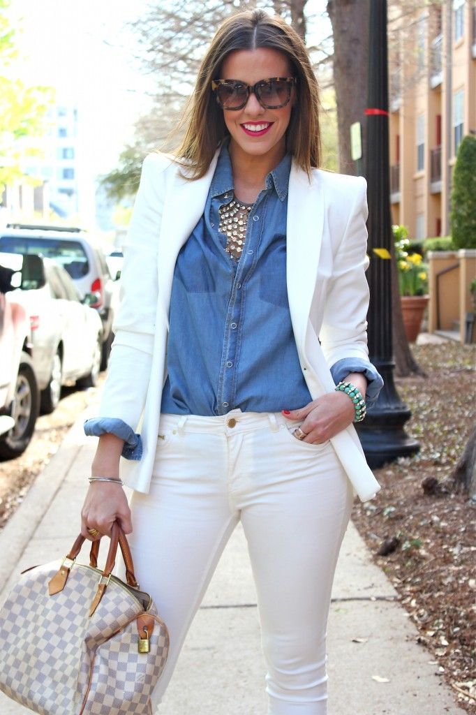 White suit / Chambray shirt / Statement necklace
