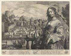 Salomon Savery | Springtime (Ver Veneris), Salomon Savery, 1604 - 1683 | Een jonge vrouw staat bij een vaas met tulpen op een balustrade. Op de achtergrond een tuin met een Venusfontein en wandelende figuren. Op het water varen mensen in een met takken versierde roeiboot. Onder de prent een achtregelig gedicht, in twee kolommen, en de tekens van de sterrenbeelden ram, stier en tweelingen.