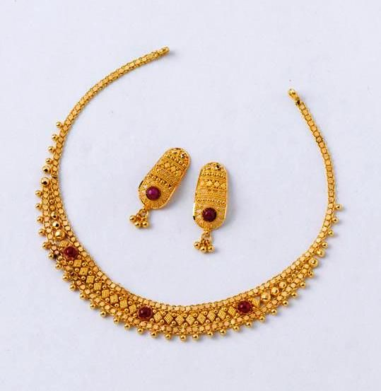 Marvellous Necklace set from the gold factory Necklace - 9.170 gms, Rs.31,200/- Earring - 3.780 gms, Rs. 12,900/-