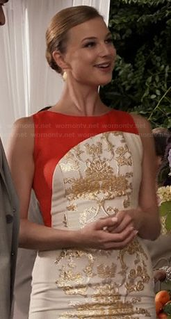 love love! Emily's white, red and gold dress on Revenge.  Outfit Details: http://m.wornontv.net/19618/