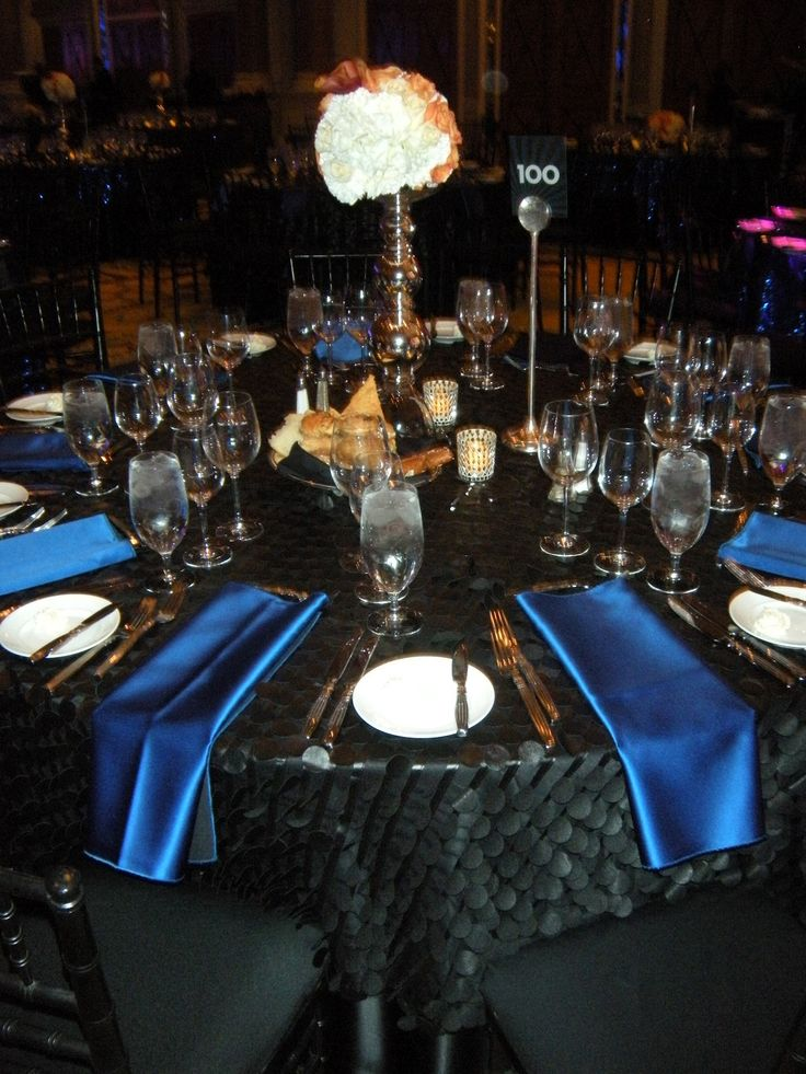 Black Table Cloth W Royal Blue Napkins Royal Blue Black White Amp Grey Palette In 2019 Blue Party Decorations Black Gold Party Decorations