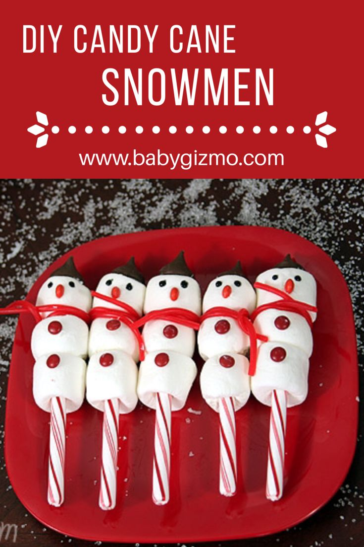 These Candy Cane Marshmallow Snowmen make a great craft AND snack! #diy #christmas #craft