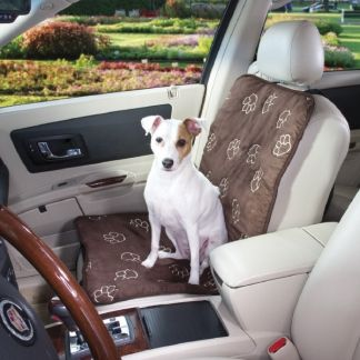 Dog Car Seat Cover for Front Bucket Seats - Brown Paw Prints