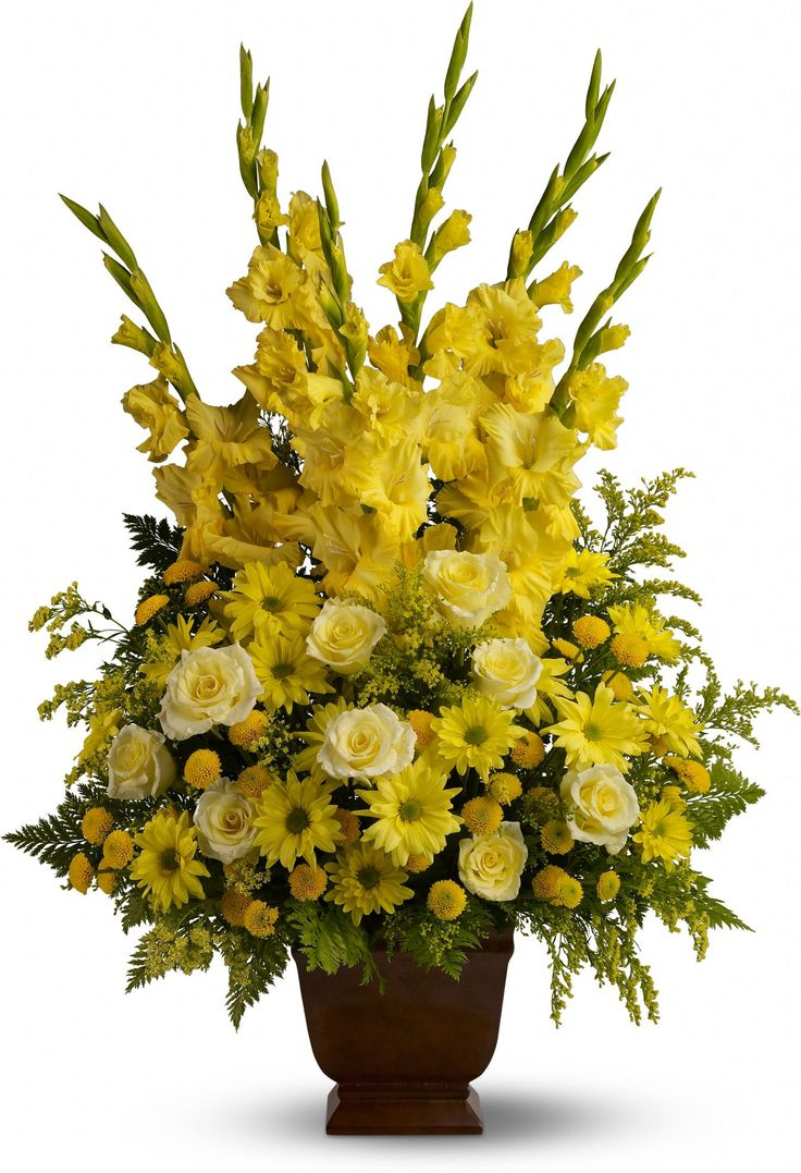 38 best florals images on pinterest funeral flowers sympathy celebrate your sunny memories of someone special with this tall funeral floral arrangement presented in a graceful urn the sunny yellow flowers are a izmirmasajfo