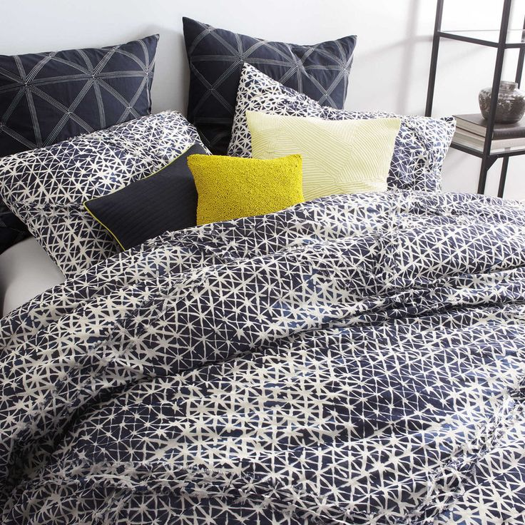 Dkny Gridlock Blue Navy White King Comforter Set Cotton