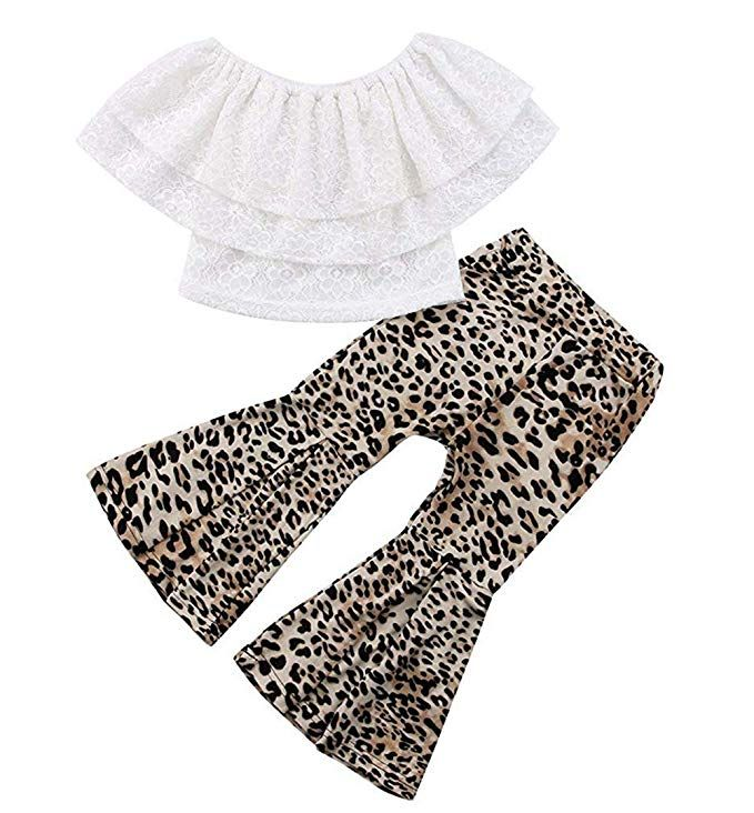 2Pcs Toddler Kids Baby Girl Leopard Clothes T-shirt Tops+Flare Pants Outfits Set