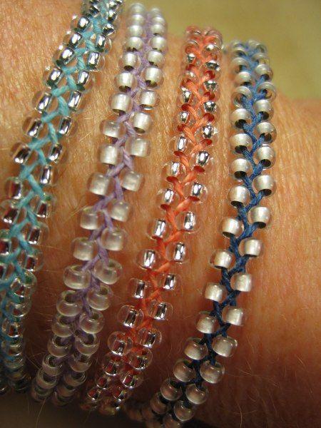 Braided, Beaded Bracelets, can use swarovski beads. Black and gold.