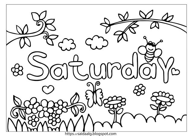 رسومات تلوين أيام الأسبوع بالإنجليزي Coloring Pages Blog Arabic Calligraphy