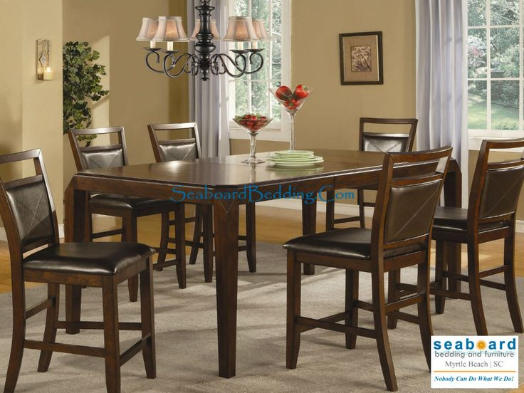 Counter Height Dining Table And Stools Set In Medium Brown Finish