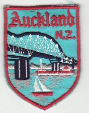 Embroidered patches like this one are a work of art! And I'm an embroiderer! - CLOTH PATCH - BADGE - AUCKLAND, NEW ZEALAND - EMBROIDERED - bridge, yacht