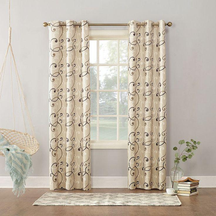 Sun Zero Soloman Thermal Lined Curtain, Beig/Green (Beig/Khaki)