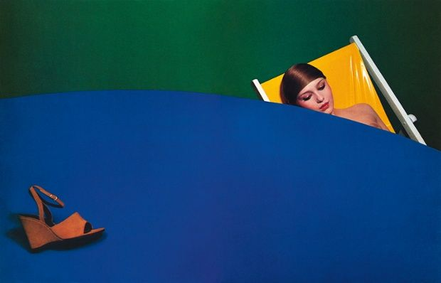 Credited with changing how fashion was photographed, Bourdin often shot for French fashion designer Charles Jourdan, Summer 1974.