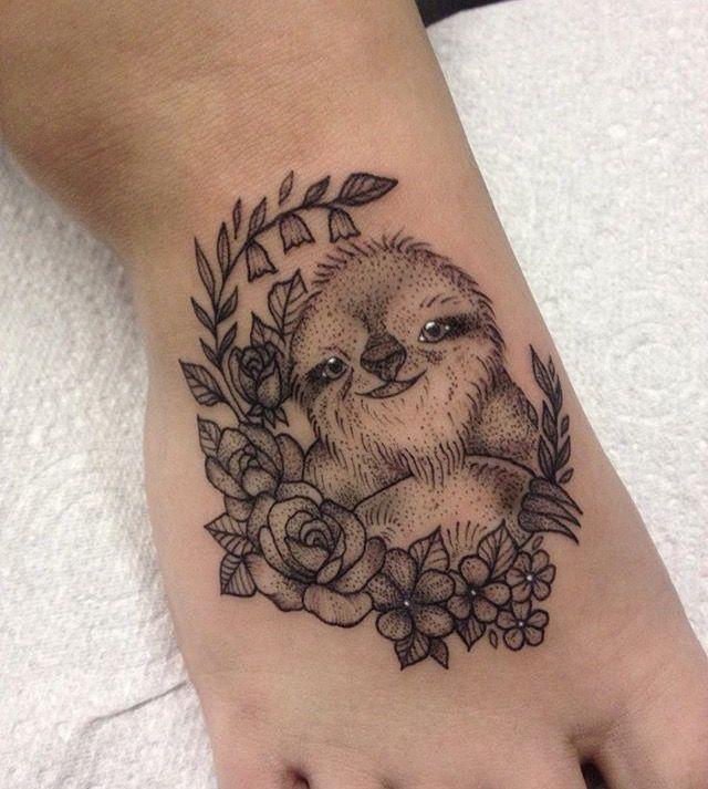 Sloth & Flowers Tattoo by Medusa Lou Tattoo Artist - medusaloux@outlook.com