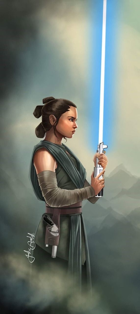 "jakebartok: ""A Rey painting from the other day. Loving the Last Jedi outfit. """