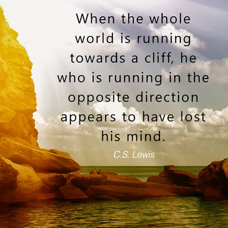 When the whole world is running towards a cliff, he who is running in the opposite direction appears to have lost his mind. - C. S. Lewis