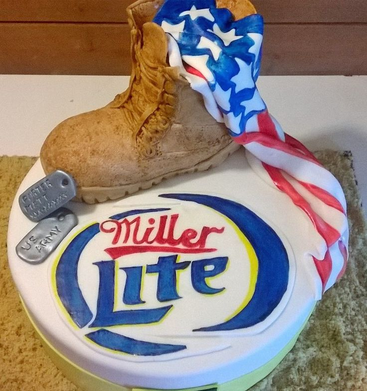 A military cake with a rice crispy boot decorated in fondant and a hand painted american flag and Miller Lite sign making this cake totally edible!