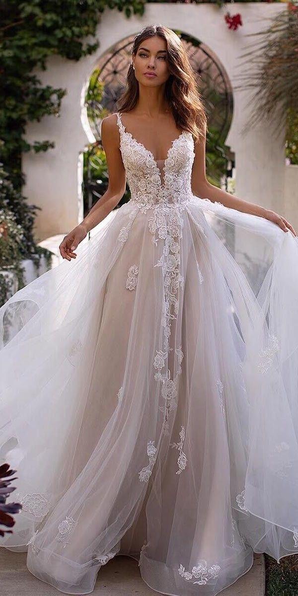 A Line Wedding Dresses Sweetheart Neckline Lace Tulle Skirt Moonlightbridal In 2020 Wedding Dresses Sweetheart Neckline Wedding Dress Low Back Wedding Dresses