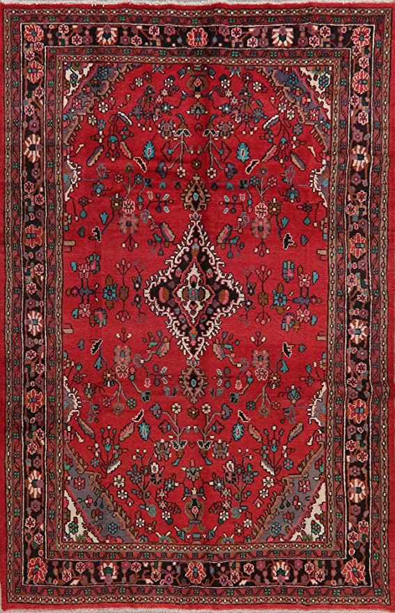 Vintage 7x11 Traditional Floral Red Hamedan Persian Area Rug Wool Hand Knotted Oriental Carpet 6 11 X 10 Wool Area Rugs Oriental Carpets Persian Area Rugs 7 x 11 area rugs