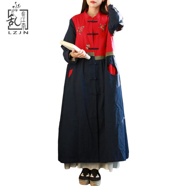 LZJN Ethnic Trench Coat Women Patchwork Windbreaker Contrast Colour Chinese Clothing Long Duster Coat Embroidery Outerwear 7259