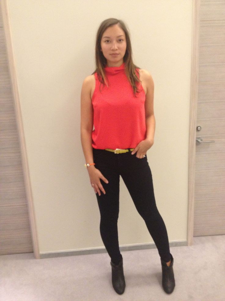 Skinny jeans! - bright top.. Can we give a few colours to choose from and let them pick their own? Or is it easier to do the uniform tops.. bright yellow belt, and booties. Top, Topshop, $40