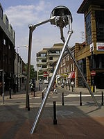 Statue of a The War of the Worlds tripod, erected as a tribute to H. G. Wells in the centre of the town of Woking, England