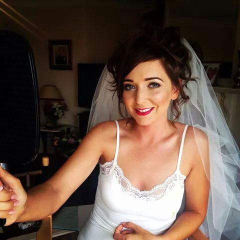 my bridal make up with raspberry lip
