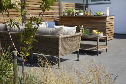 Montana – Byggbar grupp i naturfärgad konstrotting på rejäl stålstomme. Brunbeige dyna. Utemöbler, trädgårdsmöbler, Outdoor furniture.