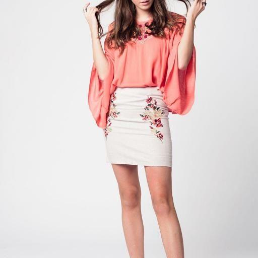 Mini falda de lino flores