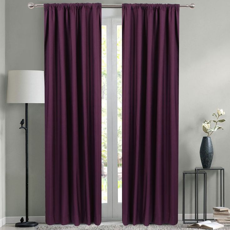 "Faux Linen Pocket Blockout Coated Window Curtain Drape 2 Panels 47"" x 83"" #Unbranded"