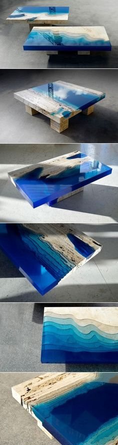New Handmade Lagoon Tables Made From Resin And Cut Travertine Marble                                                                                                                                                                                 More