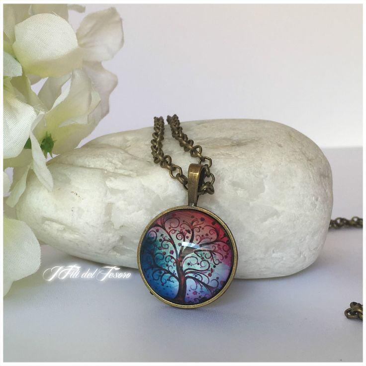 Collana lunga in bronzo con ciondolo albero della vita, medaglione in bronzo con cabochon in vetro, Spiritual,regalo unisex di IFilidelTesoro su Etsy