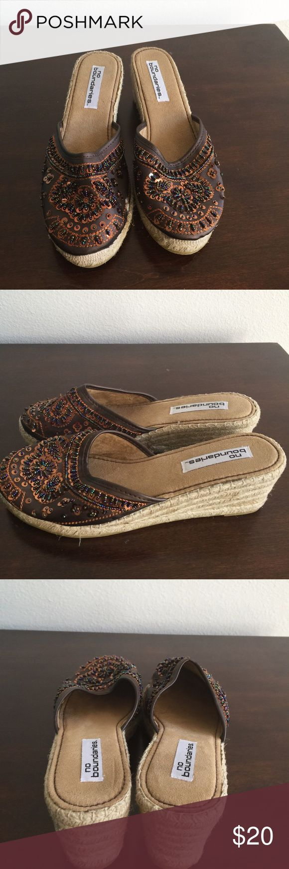 WEDGES SEQUINED NEW NEVER WORN WEDGE MULES Shoes Mules & Clogs
