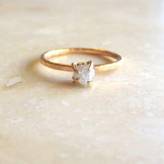 Custom Engagement Ring, Raw Diamond Alternative, Rough Uncut Stone, Women's Wedding Ring Rose Gold, Yellow Gold or White Gold Made To Order