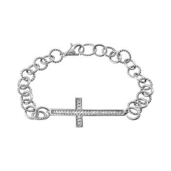 1/4 Carat T.W. Diamond Sterling Silver Sideways Cross Bracelet