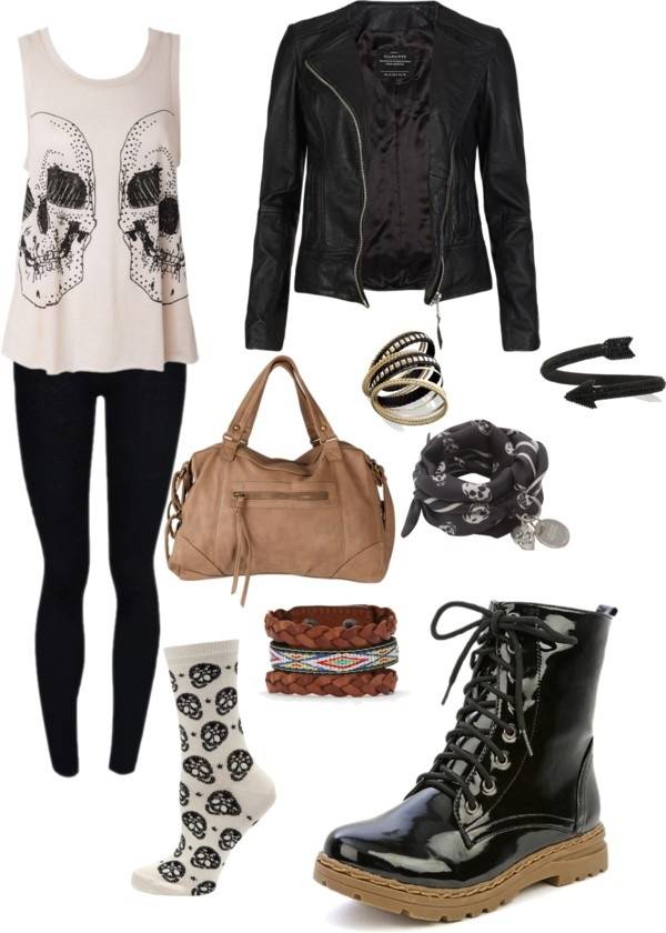 """Punk Chic"" by dewdrop98. A bit too hipster-ish and girly for me, but the concept is cute and the jacket is beautiful."