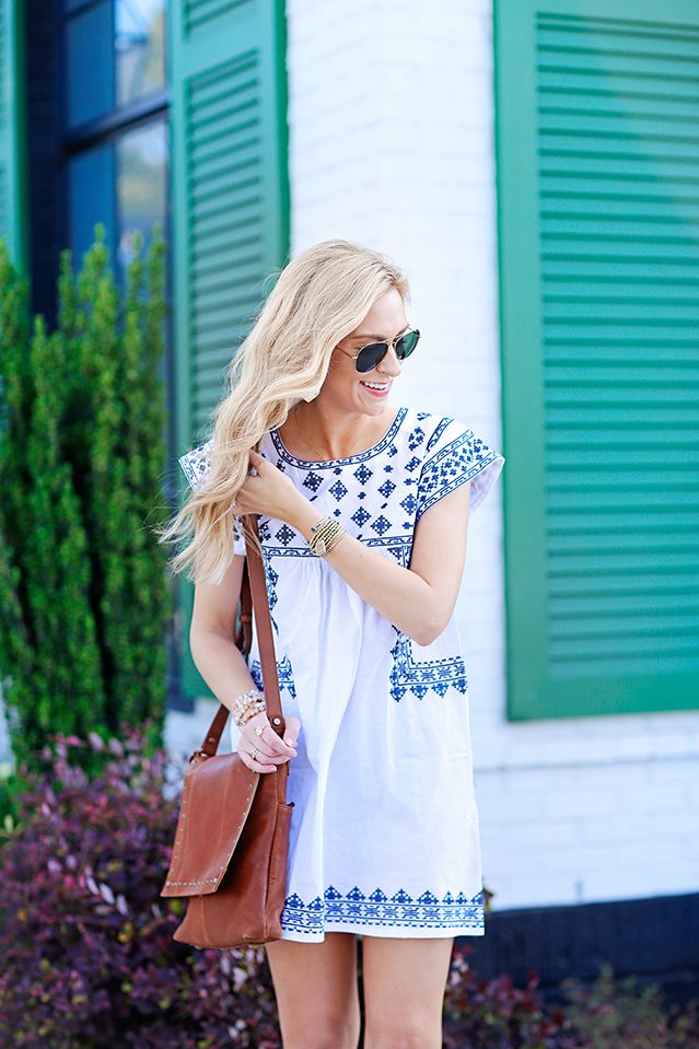 embroidered white tunic dress