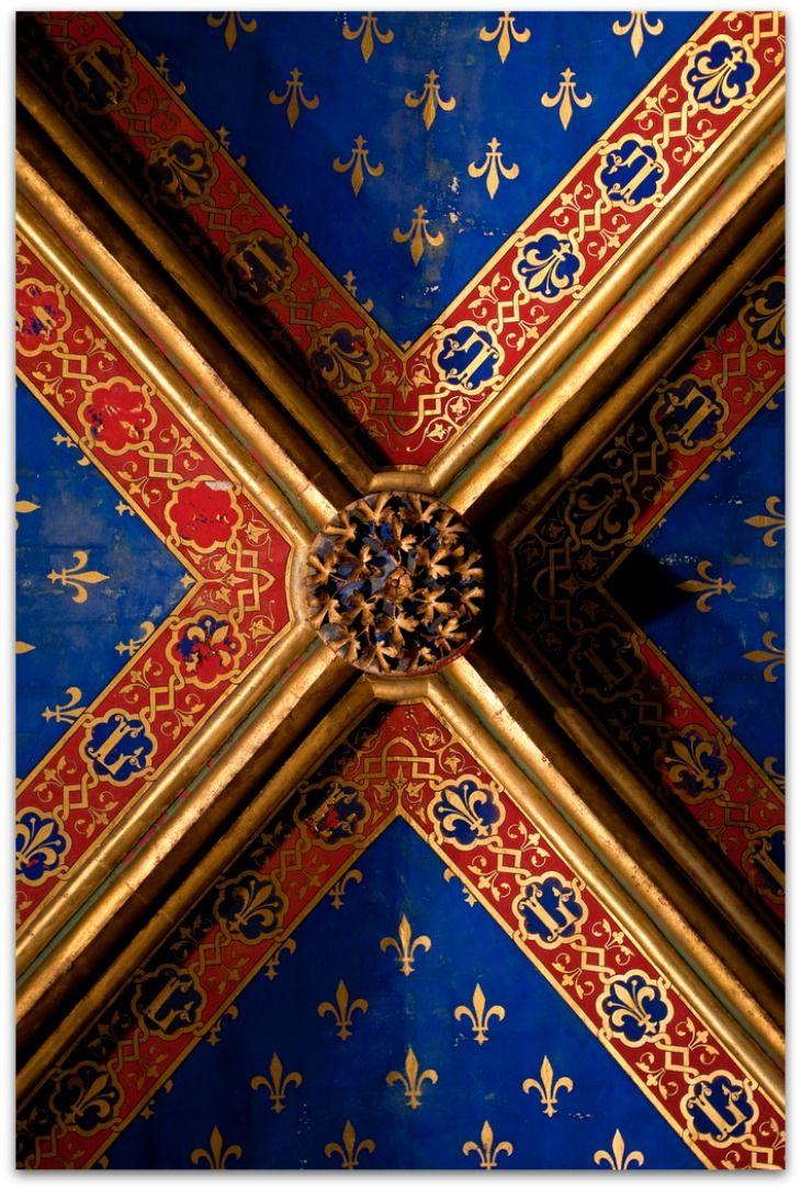 France - Paris - Sainte-Chapelle - Lower Chapel Vaulting Detail