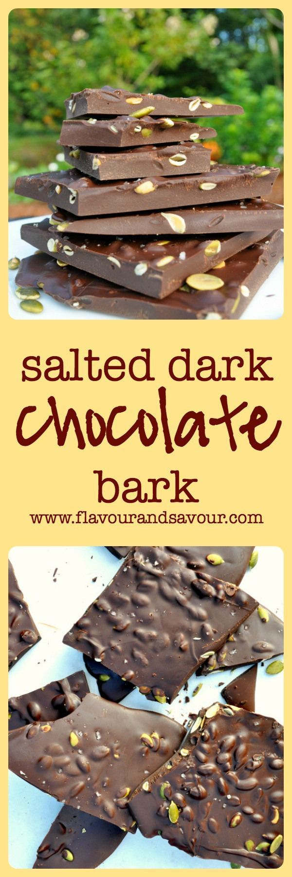 Salted Dark Chocolate Bark with Pumpkin Seeds. Quick and easy cure for a chocolate craving. |www.flavourandsavour.com