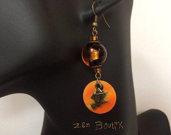 Boucles d'oreilles Orange Verre Murano Sorcière Etoile