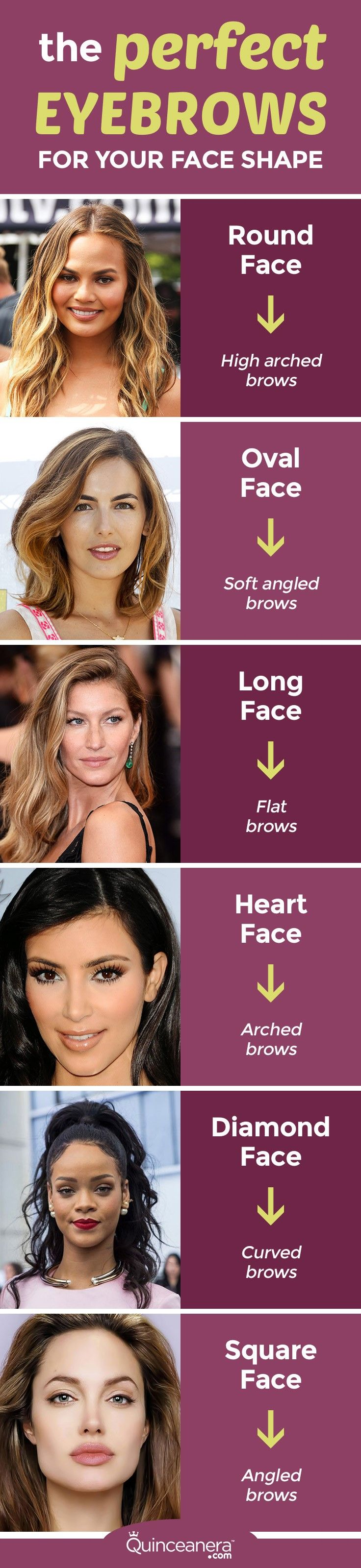 Find out which shape will flatter you before you step into the salon!  - See more at: http://www.quinceanera.com/make-up/perfect-eyebrows-face-shape/?utm_source=pinterest&utm_medium=social&utm_campaign=make-up-perfect-eyebrows-face-shape#sthash.DKHj3Xuu.dpuf