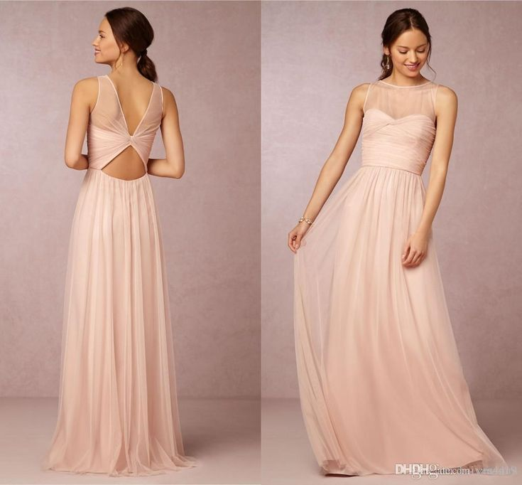 Bridesmaid Dresses 2015 Hot Cheap Crew Neck Tulle Blush Pink Sheer Illusion Hollow Back Long For Wedding Party Dress Prom Gowns Under 100 Online with $75.39/Piece on Yes_mrs's Store | DHgate.com