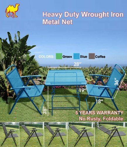 Delightful STRONG CAMEL 3 PCS Bistro Set Patio Set Table Chairs Outdoor Furniture  Wrought Iron CAFE Set