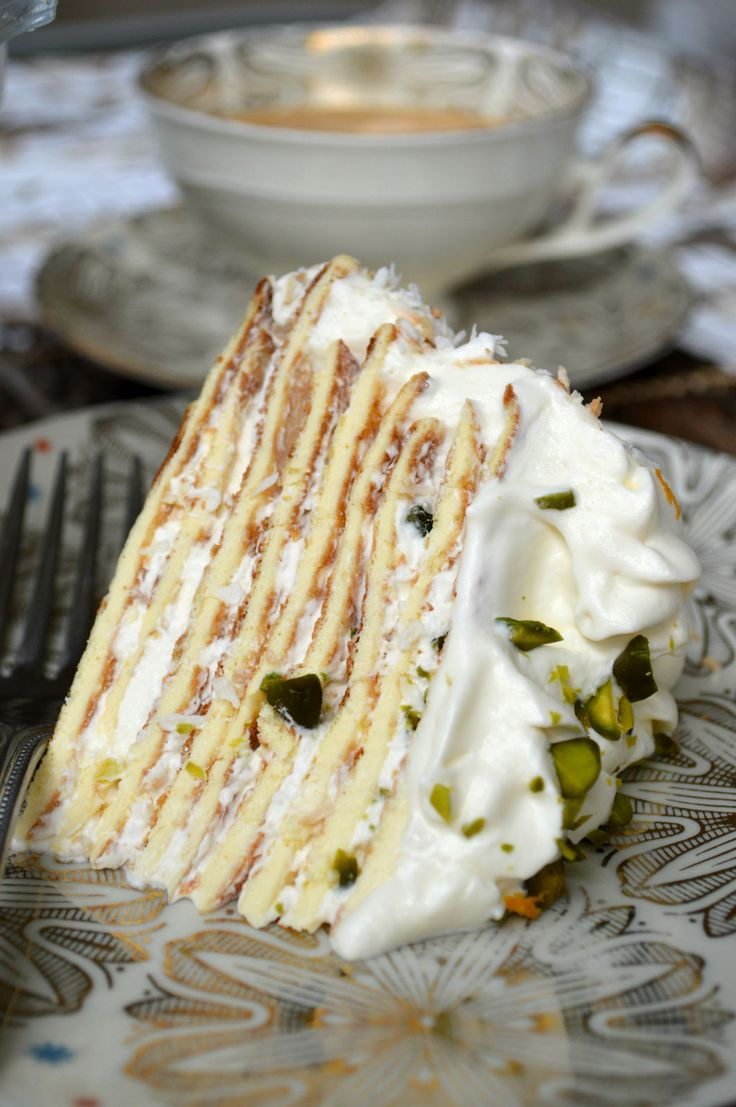 Pistachio and Coconut Crepe Cake