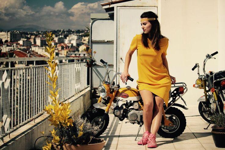 "Dress ""Monkey"" via Nina Transfeld Couture. Click on the image to see more! www.ninatransfeldcouture.com  #dress #yellow #fashion #mode #robejaune #vintage #madeinfrance #boutique #Nice #HondaMonkey #ninatransfeldcouture"